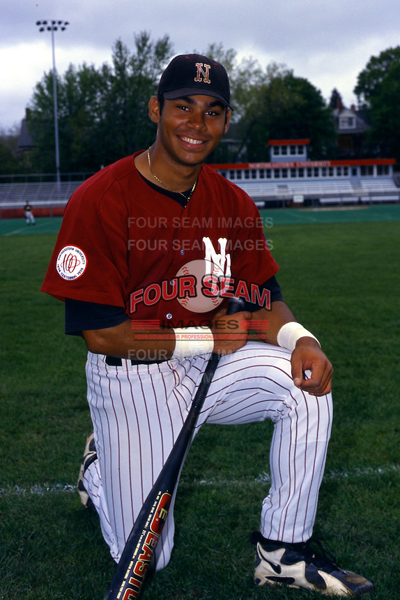 Northeastern University Huskies first baseman Carlos Pena prior to a game at Parsons Field in Boston, Massachusetts during the 1998 season.   (Ken Babbitt/Four Seam Images)