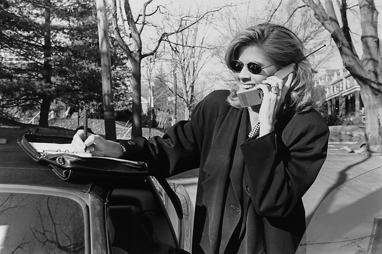 Julia Groves of Disney Channel talking on cell phone in March 1996. (Photo by Laura Patterson/CQ Roll Call via Getty Images)