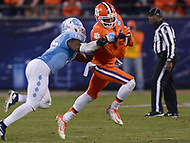 Charlotte, NC - December 5, 2015: Wide receiver Charone Peake, #19 of the Clemson Tigers, catches a pass from quarterback Deshaun Watson in the ACC Football Championship game between the North Carolina Tarheels and Clemson at the Bank of America Stadium in Charlotte, North Carolina, December 5, 2015. Clemson defeated North Carolina 45-37.  (Photo by Don Baxter/Media Images International)