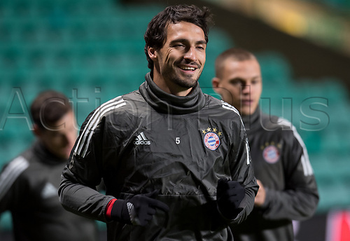 30th October 2017; Glasgow, Scotland;  Mats Hummels of FC Bayern Munich can be seen during a final training session at Celtic Park in Glasgow, Scotland, 30 October 2017. Munich will meet Celtic Glasgow in a Champions League group phase match on the 31 October 2017.