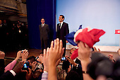 Paris, France.May 6, 2007..Conservative UMP Leader and French Presidential candidate Nicolas Sarkozy celebrates victory in the Second Round of the French Presidential Elections at a party rally held at Salle Gaveau. 85% of French voters turned out to elect Sarkozy as their next President ahead of socialist candidate Segolene Royal. Sarkozy claimed 53% of the vote.....