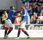 25.08.2019 St Mirren v Rangers: Jermain Defoe celebrates with Borna Barisic