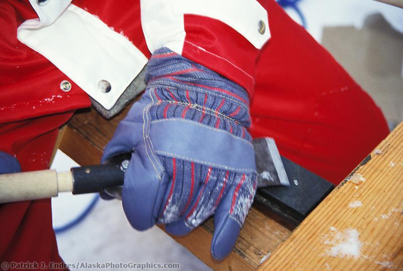 Ice sculptor sharpens chisel at the World Ice Art Championships in Fairbanks, Alaska.