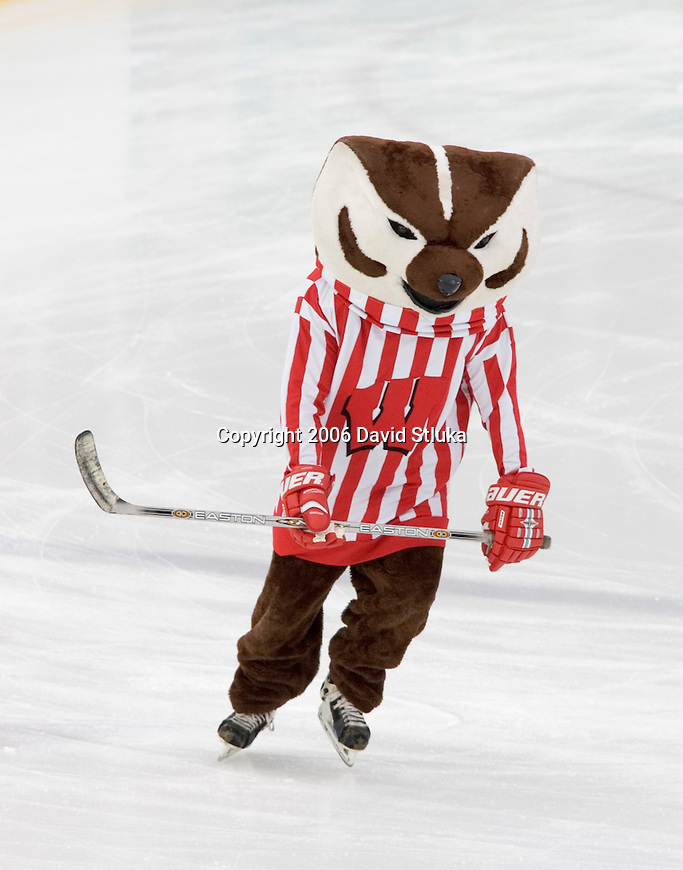 GREEN BAY, WI - FEBRUARY 11: Mascot Bucky Badger of the Wisconsin Badgers skates prior to the game against the Ohio State Buckeyes at Lambeau Field on February  11, 2006 in Green Bay, Wisconsin. The Badgers defeated the Buckeyes 4-2. (Photo by David Stluka)