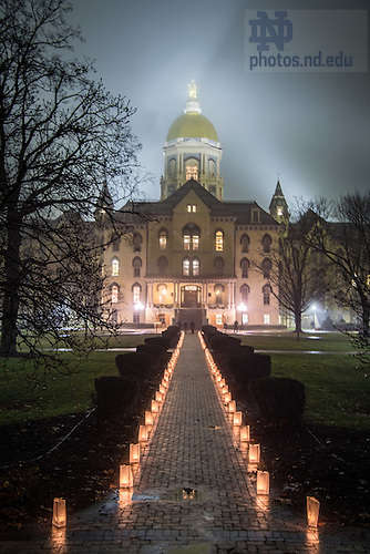 "January 16, 2017; The University of Notre Dame observes Martin Luther King Jr. Day with a candlelight prayer service in the Main Building. The event also marked the beginning of ""Walk the Walk"" week, a series of events an observances to celebrate and reflect on diversity and inclusiveness. (Photo by Matt Cashore/University of Notre Dame)"