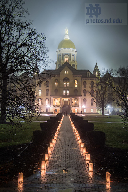 """January 16, 2017; The University of Notre Dame observes Martin Luther King Jr. Day with a candlelight prayer service in the Main Building. The event also marked the beginning of """"Walk the Walk"""" week, a series of events an observances to celebrate and reflect on diversity and inclusiveness. (Photo by Matt Cashore/University of Notre Dame)"""