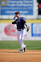 Binghamton Rumble Ponies second baseman Jeff McNeil (1) throws to first base during a game against the Altoona Curve on June 14, 2018 at NYSEG Stadium in Binghamton, New York.  Altoona defeated Binghamton 9-2.  (Mike Janes/Four Seam Images)
