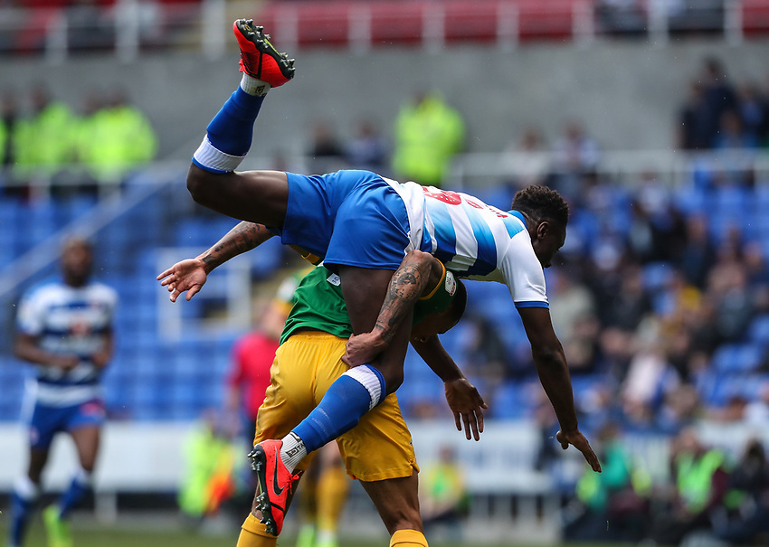 Preston North End's Lukas Nmecha competing with Reading's Andy Yiadom <br /> <br /> Photographer Andrew Kearns/CameraSport<br /> <br /> The EFL Sky Bet Championship - Reading v Preston North End - Saturday 30th March 2019 - Madejski Stadium - Reading<br /> <br /> World Copyright © 2019 CameraSport. All rights reserved. 43 Linden Ave. Countesthorpe. Leicester. England. LE8 5PG - Tel: +44 (0) 116 277 4147 - admin@camerasport.com - www.camerasport.com