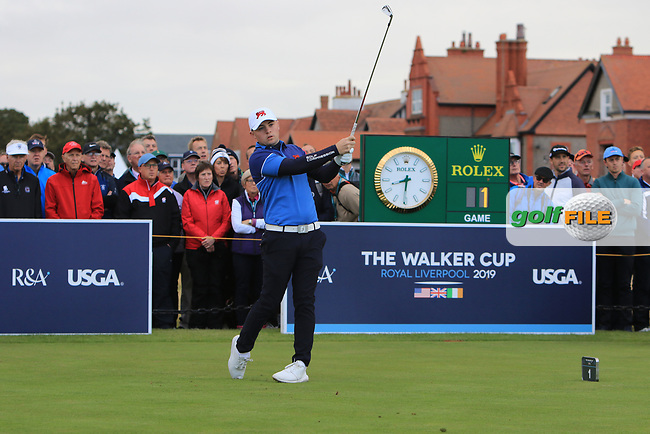 Alex Fitzpatrick (GB&I) on the 1st tee during the Foursomes at the Walker Cup, Royal Liverpool Golf CLub, Hoylake, Cheshire, England. 07/09/2019.<br /> Picture Thos Caffrey / Golffile.ie<br /> <br /> All photo usage must carry mandatory copyright credit (© Golffile | Thos Caffrey)