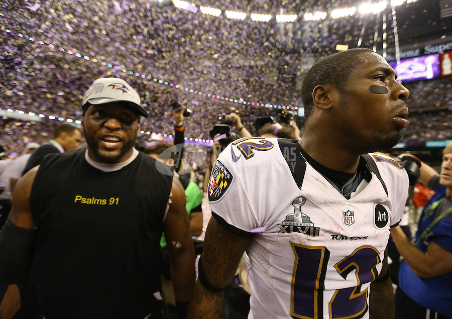 Feb 3, 2013; New Orleans, LA, USA; Baltimore Ravens inside linebacker Ray Lewis (left) celebrates with wide receiver Jacoby Jones after defeating the San Francisco 49ers in Super Bowl XLVII at the Mercedes-Benz Superdome. Mandatory Credit: Mark J. Rebilas-