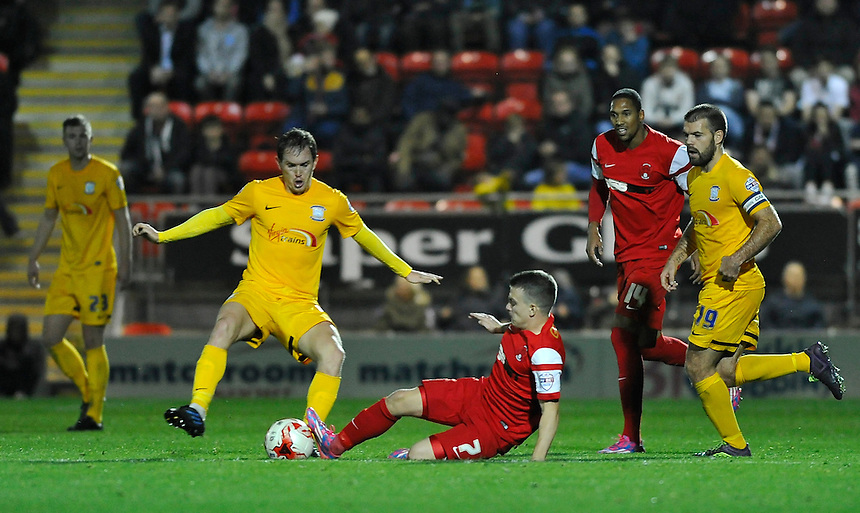 Preston North End's Neil Kilkenny battles with Leyton Orient's Dean Cox<br /> <br /> Photographer Ashley Western/CameraSport<br /> <br /> Football - The Football League Sky Bet League One - Leyton Orient v Preston North End - Tuesday 28th October 2014 - Matchroom Stadium - London<br /> <br /> &copy; CameraSport - 43 Linden Ave. Countesthorpe. Leicester. England. LE8 5PG - Tel: +44 (0) 116 277 4147 - admin@camerasport.com - www.camerasport.com