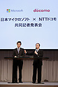 November 1, 2012, Tokyo, Japan - Kaoru Kato, president of Japan's NTT DoCoMo, speaks during a news conference in Tokyo on Thursday, November 1, 2012. At left is Yasuyuki Higuchi, president and CEO of Microsoft Japan. DoCoMo, Japan's leading cellular phone carrier, and Microsoft Japan have agreed to work together aiming to incorporate Windows 8-powered tablet computers with DoCoMo's extra high speed LTE mobile service in the corporate computer market. (Photo by AFLO) UUK -mis-