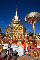 """Wat Doi Suthep - or its official name Wat Phrathat Doi Suthep is a Theravada Buddhist temple in Chiang Mai, Thailand. The temple is often referred to as simply """"Doi Suthep"""" although this is actually the name of the mountain it is located on. The temple is a sacred site to many Thai people."""