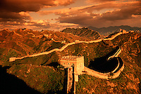 Moody overview of the Great Wall of China and the watchtower at at Jinshanling Pass. China.