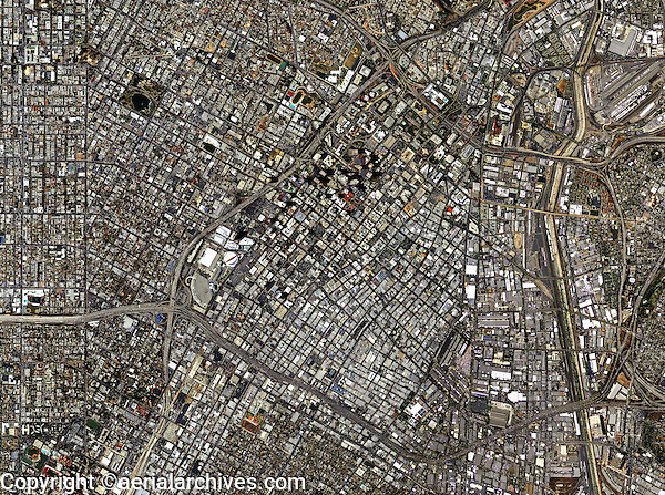 aerial photo map of downtown Los Angeles, California