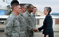 NWA Democrat-Gazette/DAVID GOTTSCHALK Secretary of the Air Force Heather Wilson (right) greets Monday, March 26, 2018, members of the Air National Guard before after visiting the 188th Wing at Ebbing Air National Guard Base in Fort Smith. Wilson, Senator John Boozman and Congressman Steve Womack toured the wing and viewed the missions of the Remote Piloted Aircraft Operations Center, Distributed Communications Ground System, and the Targeting Intelligence Production Squadron.