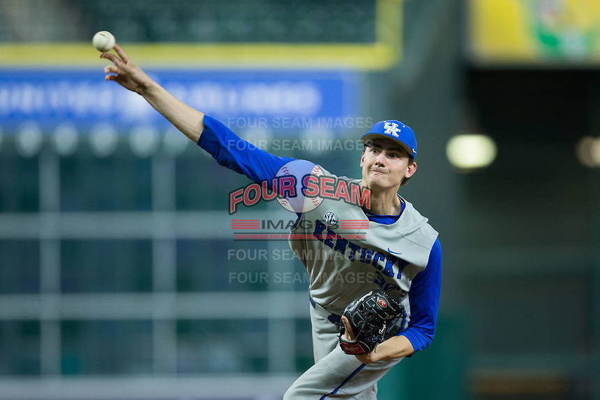 Kentucky Wildcats starting pitcher Sean Hjelle (30) delivers a pitch to the plate against the Houston Cougars in game two of the 2018 Shriners Hospitals for Children College Classic at Minute Maid Park on March 2, 2018 in Houston, Texas.  The Wildcats defeated the Cougars 14-2 in 7 innings.   (Brian Westerholt/Four Seam Images)