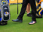 Ian Poulter's fancy footwearl on the 15th tee during Practice Day 3 of the The 2010 Ryder Cup at the Celtic Manor, Newport, Wales, 29th September 2010..(Picture Eoin Clarke/www.golffile.ie)
