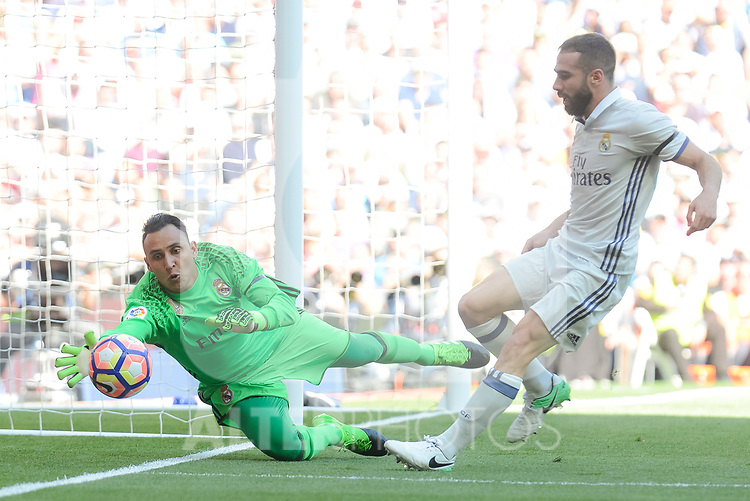 Real Madrid's Keylor Navas and Daniel Carvajal during La Liga match between Real Madrid and Atletico de Madrid at Santiago Bernabeu Stadium in Madrid, April 08, 2017. Spain.<br /> (ALTERPHOTOS/BorjaB.Hojas)