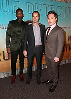 LOS ANGELES, CA - JANUARY 10: Mahershala Ali, Casey Bloys, Nic Pizzolatto, at the Los Angeles Premiere of HBO's True Detective Season 3 at the Directors Guild Of America in Los Angeles, California on January 10, 2019. Credit: Faye Sadou/MediaPunch