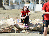 20180302 - LARNACA , CYPRUS :  Belgian Tine De Caigny pictured during a Muscular warm up training session on the beach before a women's soccer game between The Belgian Red Flames and Spain , on friday 2 March 2018 on the CTO Beach in Larnaca , Cyprus . The game will be the second game in group B for Belgium during the Cyprus Womens Cup , a prestigious women soccer tournament as a preparation on the World Cup 2019 qualification duels. PHOTO SPORTPIX.BE | DAVID CATRY
