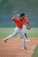 GCL Astros third baseman Ozziel Sanchez-galan (3) during a game against the GCL Marlins on July 22, 2017 at Roger Dean Stadium Complex in Jupiter, Florida.  GCL Astros defeated the GCL Marlins 5-1, the game was called in the seventh inning due to rain.  (Mike Janes/Four Seam Images)