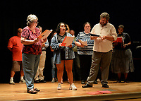 "NWA Democrat-Gazette/ANDY SHUPE<br /> Katherine Shurlds (from left), Andrea Elvir Galvez and Ray Minor sing Wednesday, Sept. 18, 2019, as they rehearse a scene for ""Gridiron"" in Giffels Auditorium in Old Main on the University of Arkansas campus in Fayetteville."
