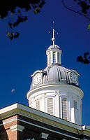 Clock tower of the Switzerland County Courthouse, completed in 1864, Classic Revival-style building located in a town of Swiss heritage on the Ohio River. Vevay Indiana.