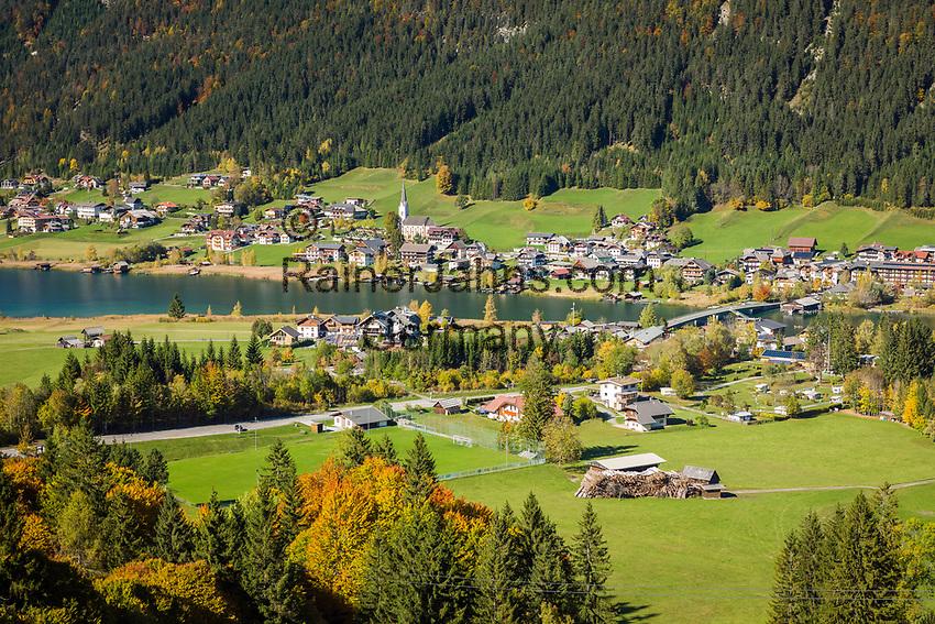 Oesterreich, Kaernten, Techendorf: mit evangelischer Filialkirche am Weissensee | Austria, Carinthia, Techendorf: with subsidiary church and Lake Weissensee