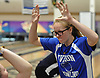 Katherine Oswald of Levittown Division reacts after rolling a strike in the third game of a Nassau County girls bowling match against MacArthur at Levittown Lanes on Wednesday, Jan. 3, 2018. She bowled a 449 series with a high game of 152.