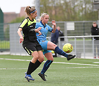 20190427 - Waregem , BELGIUM : Sarah Metsu (L) and Lobke Swaenepoel (R)   pictured during the final of the Beker van West-Vlaanderen 2019 , a soccer women game between SV Bredene and Famkes Westhoek Diksmuide Merkem B  , in the  Mirakelstadion in Waregem , Satuday 27 th April 2019 . PHOTO SPORTPIX.BE | DIRK VUYLSTEKE