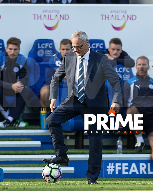 Leicester City Manager Claudio Ranieri controls the ball during the Premier League match between Leicester City and Southampton at the King Power Stadium, Leicester, England on 2 October 2016. Photo by Andy Rowland.