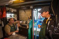 """France, Aquitaine, Pyrénées-Atlantiques, Pays Basque,   Saint-Jean-de-Luz: départ   du Thonier Canneur """"Aïrosa""""  pour la pêche au thon à la canne,  //  France, Pyrenees Atlantiques, Basque Country:  departure Line tuna vessel """"Airosa"""" for tuna fishing cane, - Auto N°:2014-149, Auto N°:2014-150, Auto N°:2014-151, Auto N°:2014-152, Auto N°:2014-153, Auto N°:2014-154, Auto N°:2014-155"""
