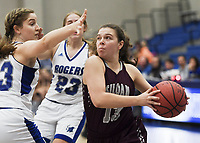 NWA Democrat-Gazette/CHARLIE KAIJO Siloam Springs High School guard Brooklynn Shreve (13) drives the ball down the court, during the Great 8 Tournament, Thursday, November 29, 2018 at King Arena at Rogers High School in Rogers.