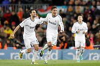 Real Madrid's Alvaro Arbeloa (l), Mesut Ozil (r) and Raphael Varane celebrate goal during Copa del Rey - King's Cup semifinal second match.February 26,2013. (ALTERPHOTOS/Acero) /Nortephoto