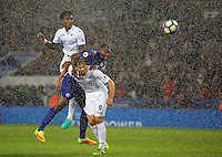 Pictured: Leroy Fer of Swansea City scores a goal on top of Wes Morgan of Leicester City and team mate Fernando Llorente Saturday 27 August 2016<br />Re: Swansea City FC v Leicester City FC Premier League game at the King Power Stadium, Leicester, England, UK
