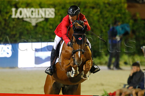 30th September 2017, Real Club de Polo de Barcelona, Barcelona, Spain; Longines FEI Nations Cup, Jumping Final;  Yann Candele (CAN) ridding Theodore Manciais