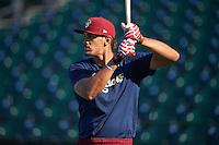 Frisco RoughRiders first baseman Ronald Guzman (31) during batting practice before a game against the Corpus Christi Hooks on April 23, 2016 at Whataburger Field in Corpus Christi, Texas.  Corpus Christi defeated Frisco 3-2.  (Mike Janes/Four Seam Images)