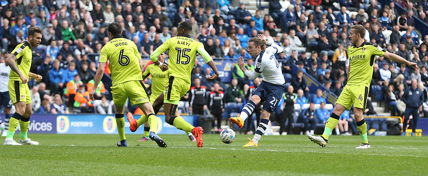 Preston North End's Stevie May sees his shot blocked by Rotherham United's Richard Wood<br /> <br /> Photographer Stephen White/CameraSport<br /> <br /> The EFL Sky Bet Championship - Preston North End v Rotherham United - Saturday 29th April 2017 - Deepdale - Preston<br /> <br /> World Copyright &copy; 2017 CameraSport. All rights reserved. 43 Linden Ave. Countesthorpe. Leicester. England. LE8 5PG - Tel: +44 (0) 116 277 4147 - admin@camerasport.com - www.camerasport.com