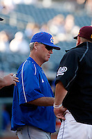 Ritch Price - 2009 Kansas Jayhawks head coach meets at home plate before a game against the Arizona State Sun Devils at Surprise Stadium - 03/15/2009.Photo by:  Bill Mitchell/Four Seam Images..