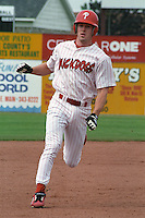 Batavia Muckdogs Chase Utley (8) runs the bases during a game at Dwyer Stadium in Batavia, New York during the 2000 season.  Photo By Mike Janes/Four Seam Images