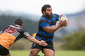 Elijah Koaneti looks for options as he tries to avoid Tusi Sateki. Counties Manukau Premier Counties Power Club Rugby Round 2, Game of the Week, between Te Kauwhata and Onewhero, played at Te Kauwhata on Saturday March 17th 2018. <br /> Photo by Richard Spranger.<br /> <br /> Onewhero won the game 43 - 10 after leading 21 - 10 at halftime.<br /> Te Kauwhata EnviroWaste  10 - Lani Latu try,  Caleb Brown 1 conversion, Caleb Brown 1 penalty.<br /> Onewhero 43 - Jackson Orr 2, Ilaisa Koaneti 2, Vaughan Holdt, Zac Wootten, Rhain Strang tries, Vaughan Holdt 4 conversions.