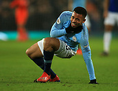 6th February 2019, Goodison Park, Liverpool, England; EPL Premier League Football, Everton versus Manchester City; Gabriel Jesus of Manchester City gets to his feet after suffering a blow to his neck