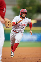 Louisville Bats catcher Raffy Lopez (9) running the bases during a game against the Buffalo Bisons on June 20, 2016 at Coca-Cola Field in Buffalo, New York.  Louisville defeated Buffalo 4-1.  (Mike Janes/Four Seam Images)