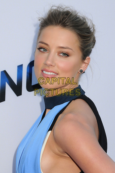 Amber Heard<br /> &quot;Paranoia&quot; Los Angeles Premiere held at the Directors Guild of America, West Hollywood, California, USA, 8th August 2013.<br /> portrait headshot  blue dress cut side hair up smiling <br /> CAP/ADM/BP<br /> &copy;Byron Purvis/AdMedia/Capital Pictures