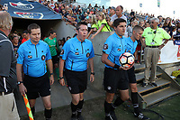 Cary, North Carolina  - Saturday August 05, 2017: Referee Elvis Osmanovic (second from right) with (from left) Benjamin Wooten, Aaron Gallagher, and John Krill prior to a regular season National Women's Soccer League (NWSL) match between the North Carolina Courage and the Seattle Reign FC at Sahlen's Stadium at WakeMed Soccer Park. The Courage won the game 1-0.