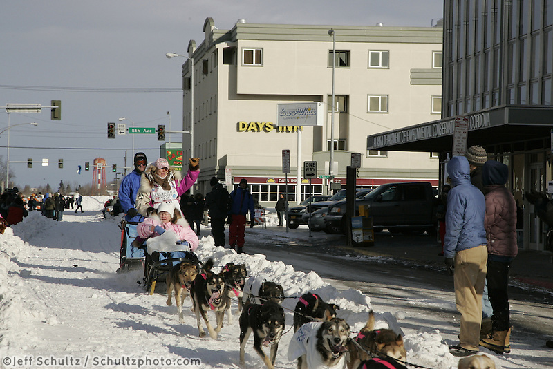 Dee Dee Jonrowe in Anchorage on Saturday March 1st during the ceremonial start day of the 2008 Iidtarod Sled Dog Race.