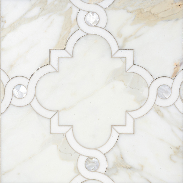 Atticus, a waterjet stone mosaic, shown in honed Calacatta, polished Thassos and Shell, is part of the Parterre Collection by Sara Baldwin for New Ravenna.<br /> For pricing samples and design help, click here: http://www.newravenna.com/showrooms/