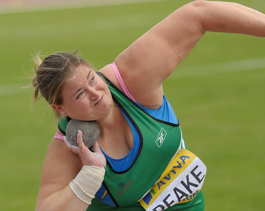 Photo: Ady Kerry/Richard Lane Photography..Aviva World Trials & UK Championships athletics. 11/07/2009. .Rebecca Peake shot put