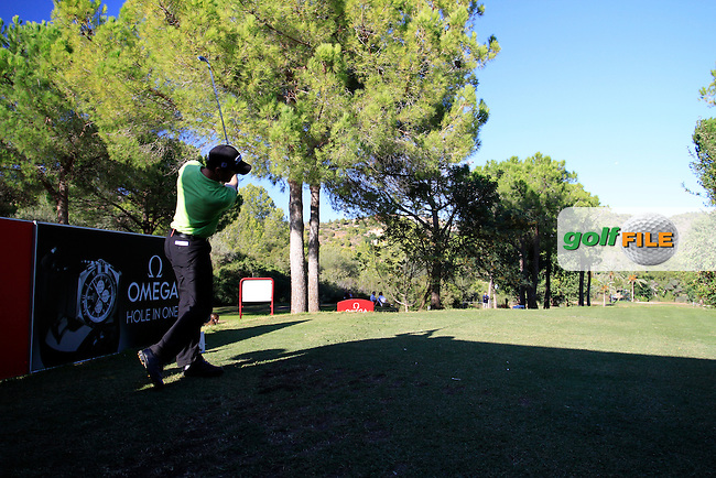 Michael Hoey (NIR) tees off on the par3 16th tee during Thursday's Round 1 of the Castello Masters at the Club de Campo del Mediterraneo, Castellon, Spain, 20th October 2011 (Photo Eoin Clarke/www.golffile.ie)